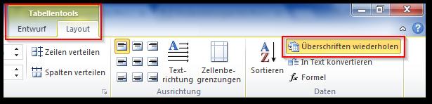 "Screenshot Option ""Überschriften wiederholen"" aktiviert in Tabellentools, Layout"