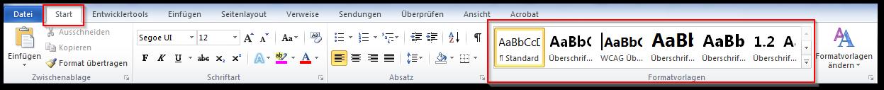 Screenshot Formatvorlagen unter Start