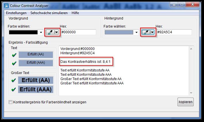 Screenshot Color Contrast Analyzer, Farbe für Vorder- und Hintergrund wählen, Kontrastverhältnis ablesen