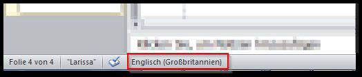 Screenshot Statusleiste, ausgewählte Sprache Englisch (Großbritannien)