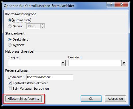 Screenshot Optionen für Formularfelder, Hilfetext hinzufügen