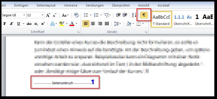 Screenshot eingeblendete Absatzmarken und Seitenumbruch