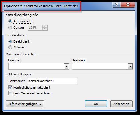 Screenshot Dialog Optionen für Kontrollkästchen-Formularfelder