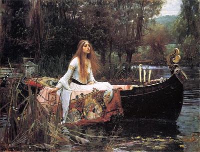 Gemälde einer Frau mit langen Haaren, die in einem Boot sitzt. Die Frau in dem Bild trägt ein wallendes weißes Kleid. Ein großer aufwendig gemusterter Stoff ist um sie herum drapiert. In ihrer rechten Hand hält sie die Ankerkette des Bootes. Ihr Ausdruck …